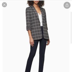 Calvin Klein NWT charcoal plaid open faced blazer
